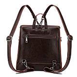 Жіночий шкіряний рюкзак міський. Модний маленький рюкзак жіночий сумка рюкзак трансформер (чорний), фото 4