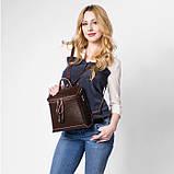 Жіночий шкіряний рюкзак міський. Модний маленький рюкзак жіночий сумка рюкзак трансформер (чорний), фото 7