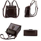 Жіночий шкіряний рюкзак міський. Модний маленький рюкзак жіночий сумка рюкзак трансформер (чорний), фото 5