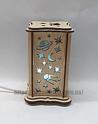 Соляной светильник прямоугольный маленький Космос