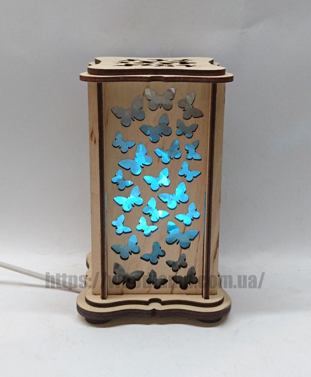 Соляной светильник прямоугольный маленький Бабочки
