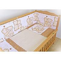 Защита бампер в детскую кроватку  из двух частей Мишки с улиткой шоколадный