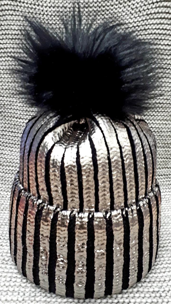 Шапка подростковая  на девочку зима черная с серебром  (Украина) размер 52 54