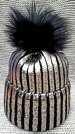 Шапка подростковая  на девочку зима черная с серебром  (Украина) размер 52 54 , фото 2