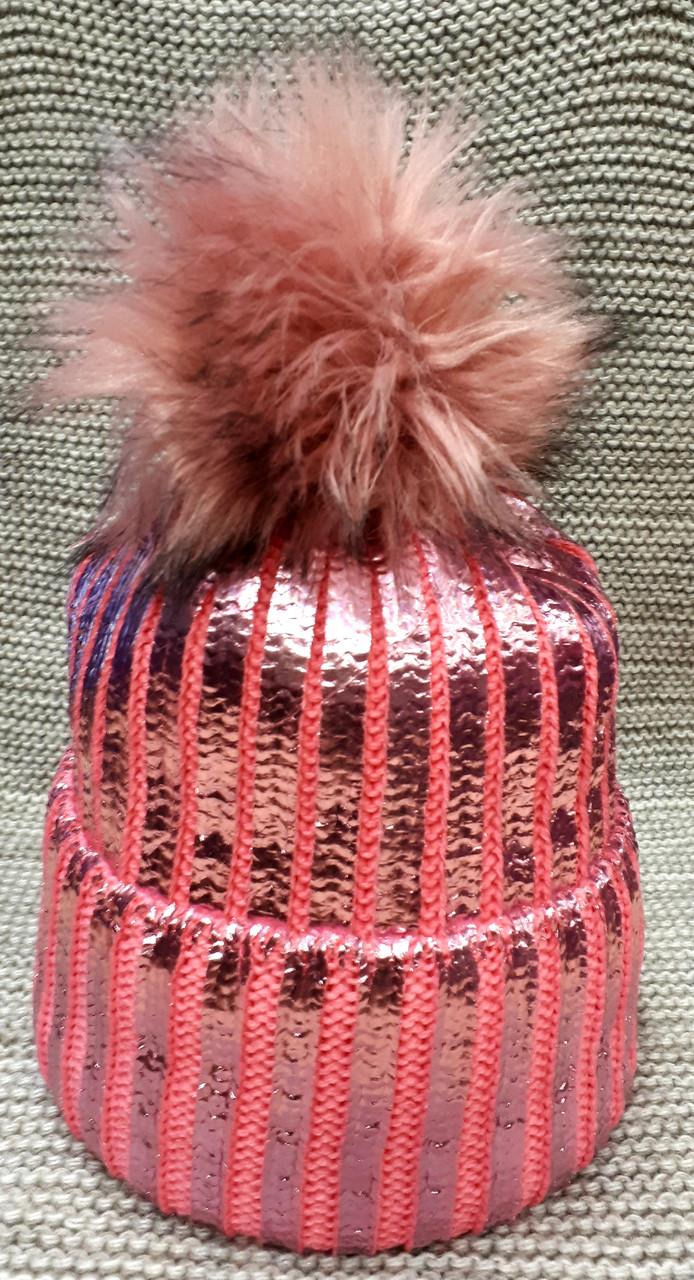 Шапка подростковая  на девочку зима розового цвета  (Украина) размер 52 54