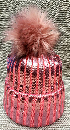Шапка подростковая  на девочку зима розового цвета  (Украина) размер 52 54, фото 2