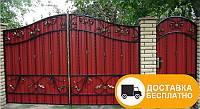 Ворота с коваными элементами и профнастилом, код: Р-0126