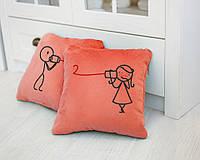 Набор подушек для влюбленных «Связь»  флок, фото 1
