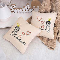 Набір подушок для закоханих «Король і Королева» флок, фото 1