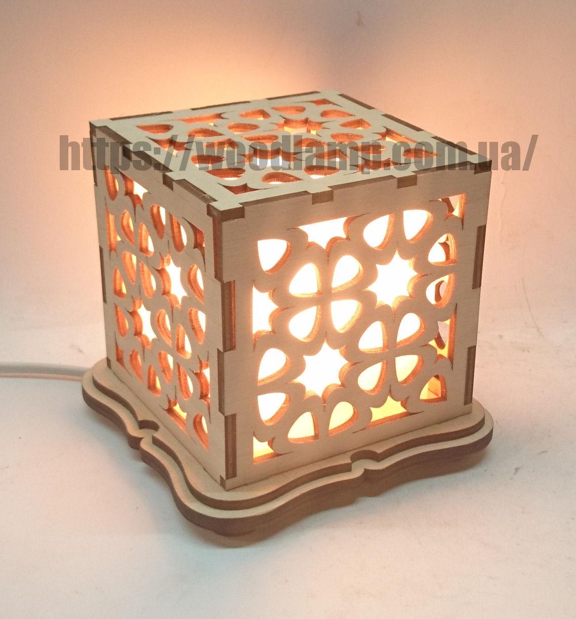 Соляной светильник Куб Узор-2