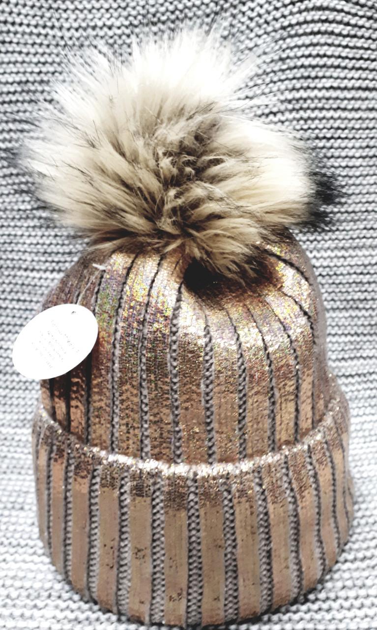 Шапка подростковая  на девочку зима коричневая с золотым напылением (Украина) размер 52 54
