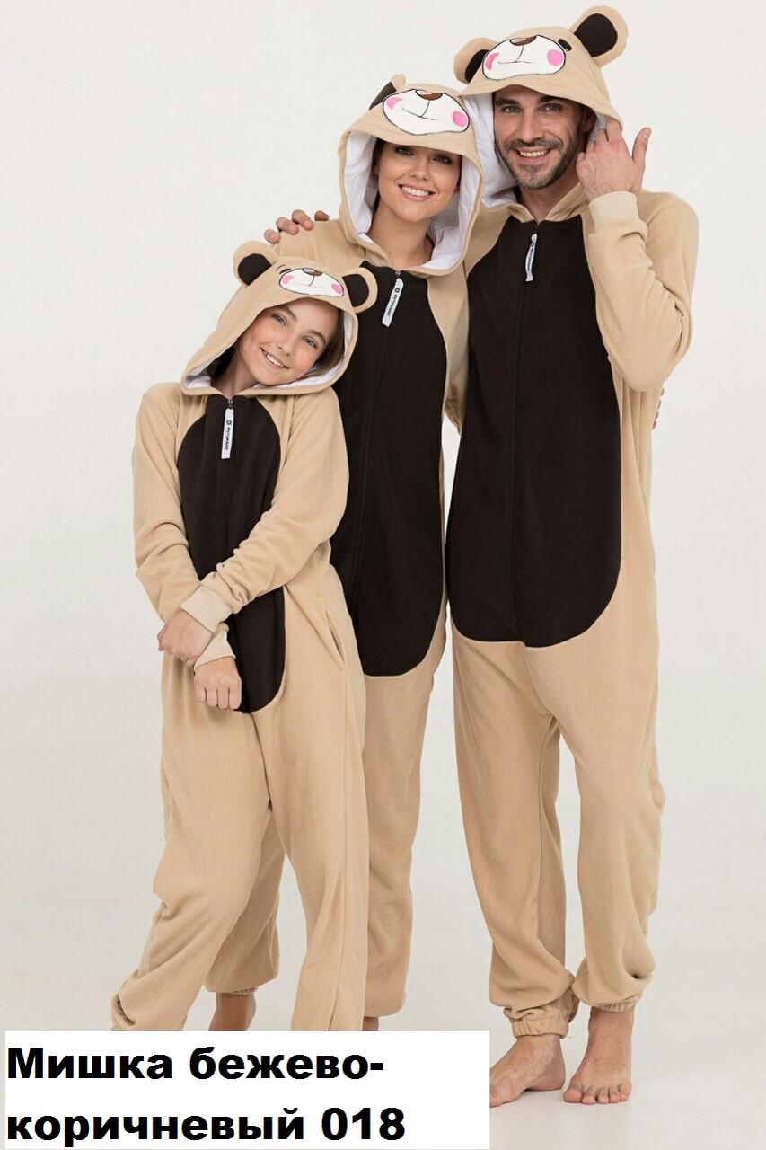 Кигуруми футужама Мишка бежево-коричневый 018 (размер (42-48)