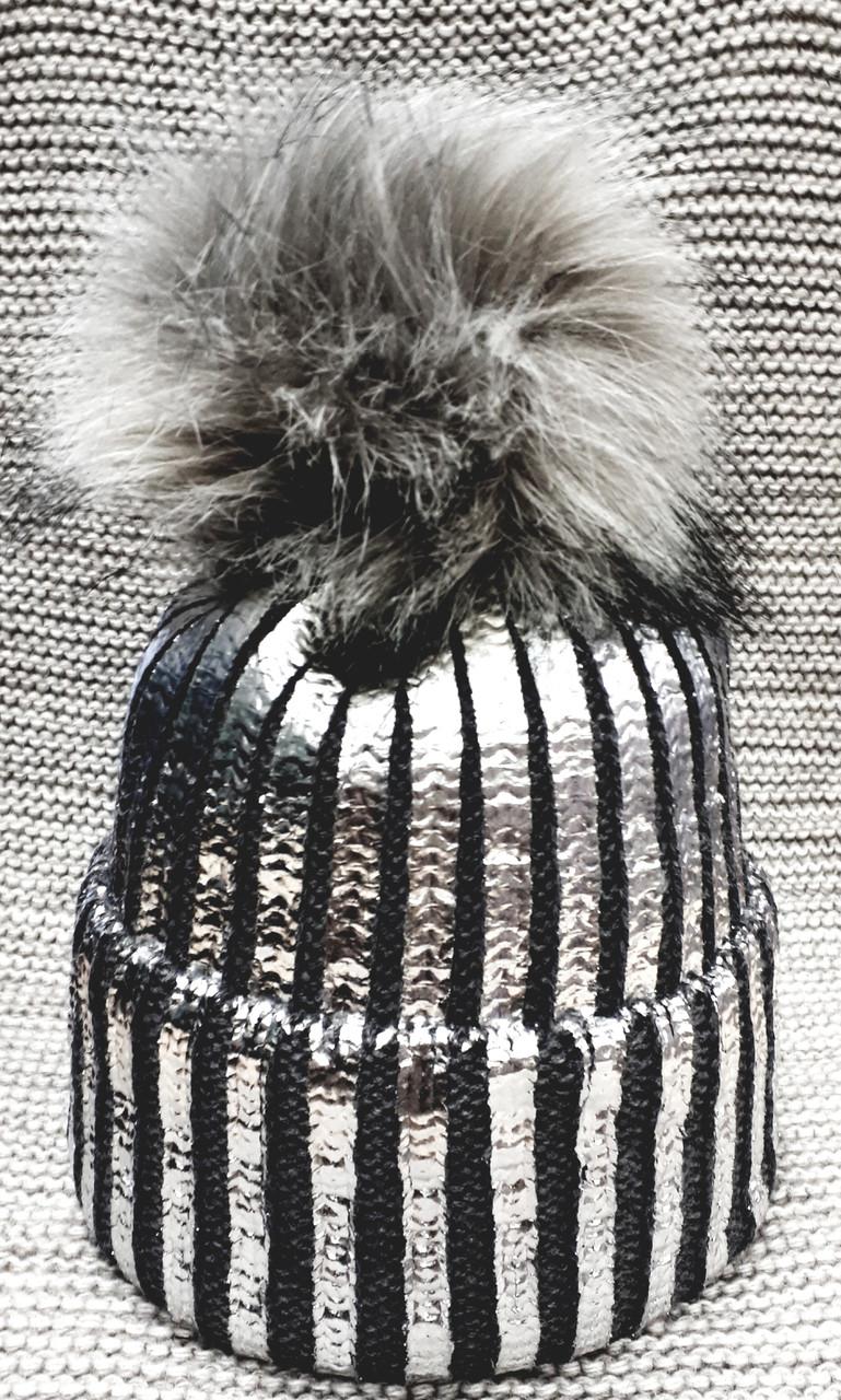 Шапка подростковая  на девочку зима серая с напылением (Украина) размер 52 54