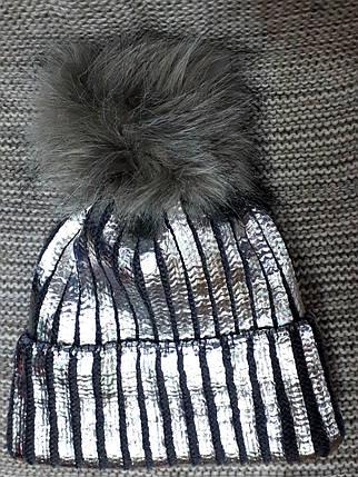 Шапка подростковая  на девочку зима серая с напылением (Украина) размер 52 54 , фото 2