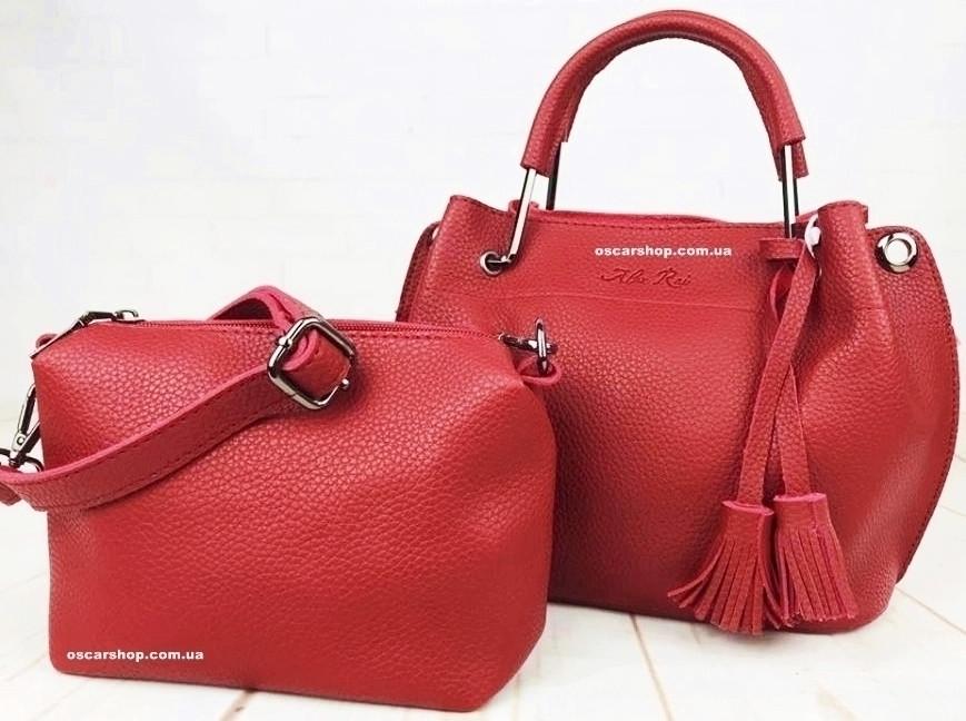 3c892c13105b Брендовая красная женская сумка Alex Rai. Набор сумок 2 в 1 клатч Алекс Рей.
