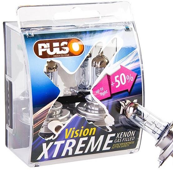 Лампы PULSO/галогенные H4/P43T 12v60/55w+50% X-treme Vision/plastic box