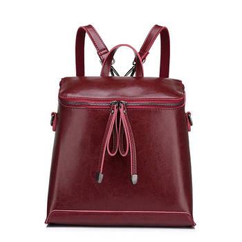 Рюкзак сумка (трансформер) міський жіночий шкіряний (червоний)