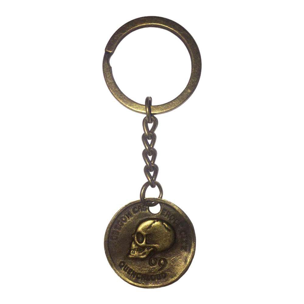 Брелок металлический монета Череп