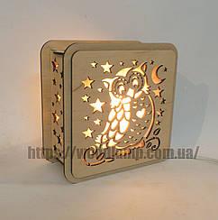 Соляной светильник Квадратный деревянный Сова