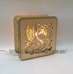 Соляной светильник Квадратный деревянный Ангелок