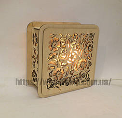 Соляной светильник Квадратный деревянный Цветы