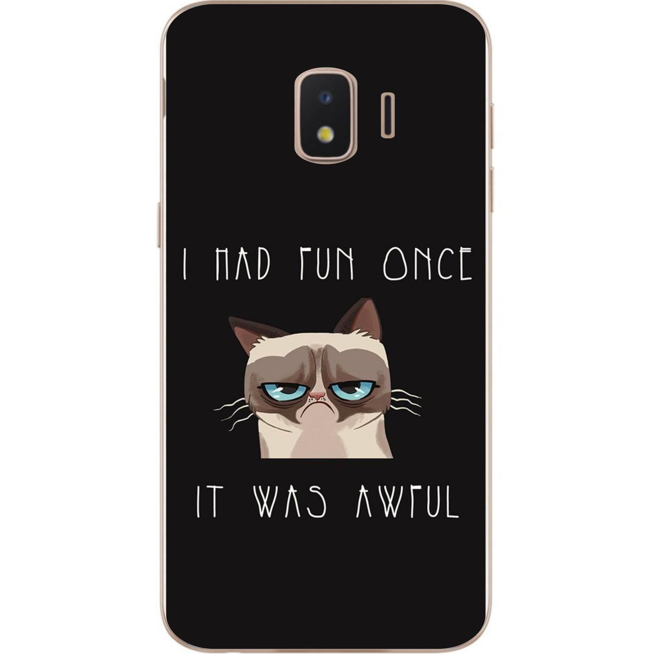 Оригінальний чохол накладка для Samsung J2 Core J260 Galaxy 2018 з картинкою Сумний кіт