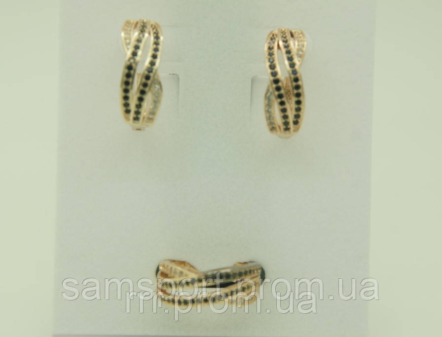 Комплект бижутерии серьги с кольцом (19 и 20 размера) в стразах 92