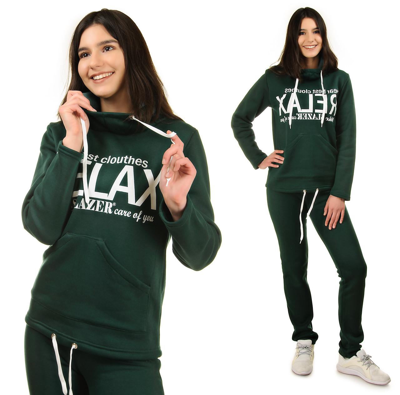 Теплый спортивный костюм батальный женский трикотажный худи и брюки (батал), зеленый