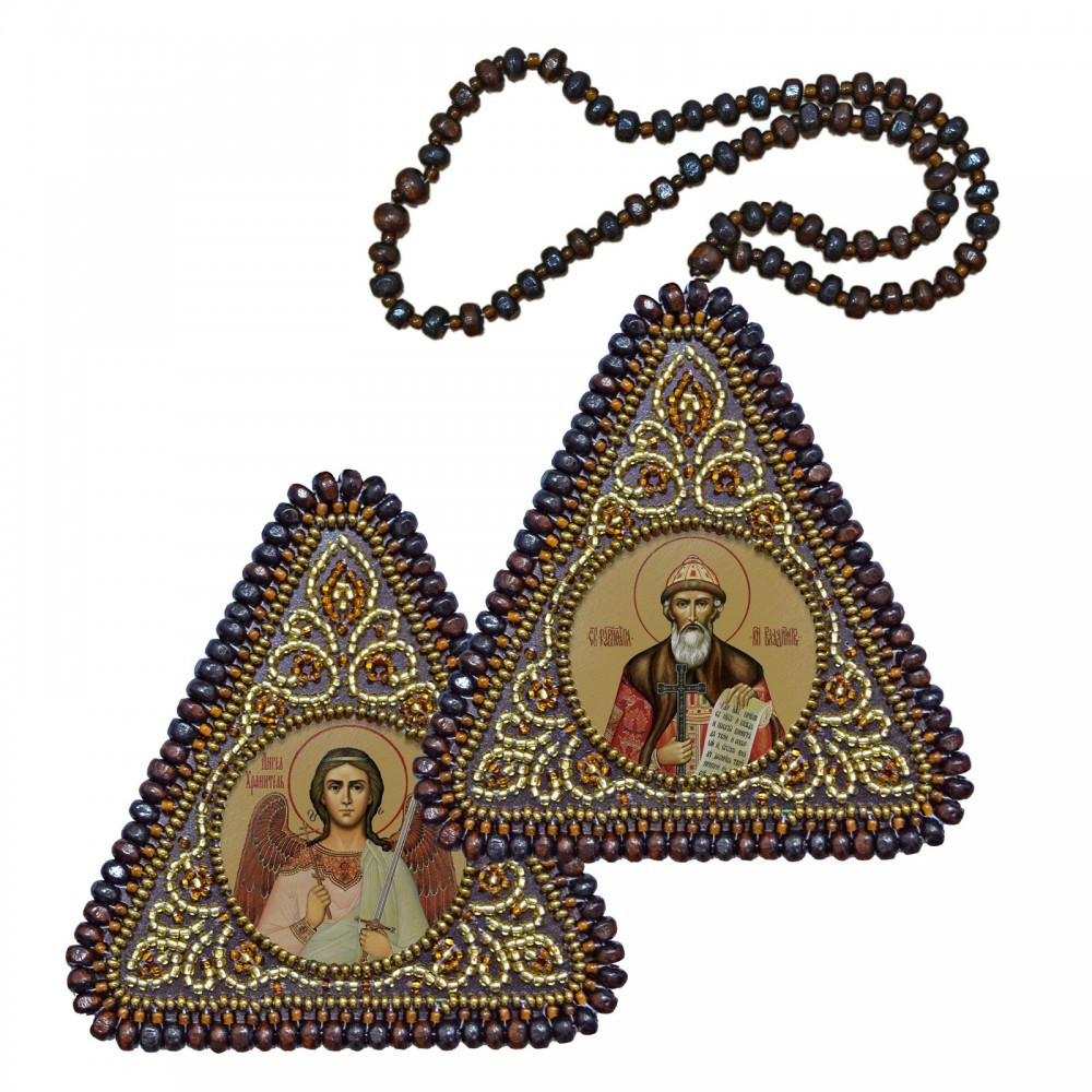 """Набір для вишивання бісером 8х8см двостороння ікона """"Св. Рівноап. Князь Володимир і Ангел Хоронитель"""""""