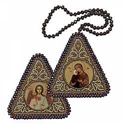 """Набір для вишивання бісером 8х8см двостороння ікона """"Прав. Анна, мати Пресвятої Богородиці і Ангел Захист"""""""