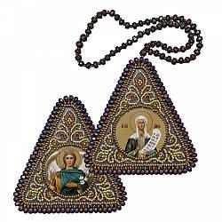"""Набір для вишивання бісером 8х8см двостороння ікона """"Св. Мц. Дарія (Дар'я) і Архангел Гавриїл"""""""