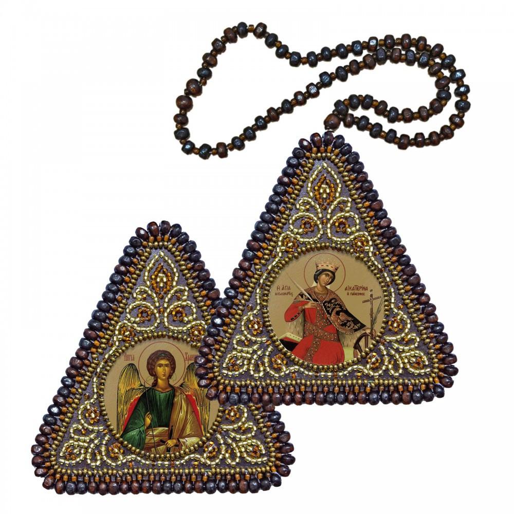"""Набор для вышивания бисером 8х8см двухсторонняя икона """"Св. Мц. Катерина и Ангел Хранитель"""""""