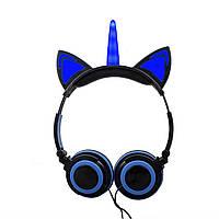 Навушники LINX Unicorn Ear Headphone з вушками Єдиноріг LED Синій (SUN3000)