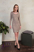 Платье-футляр пудрового цвета из ангоры