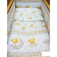 Набор постельного белья в детскую кроватку из 4 предметов Мишка в пижаме серый МАЛЕНЬКИЙ пододеяльник