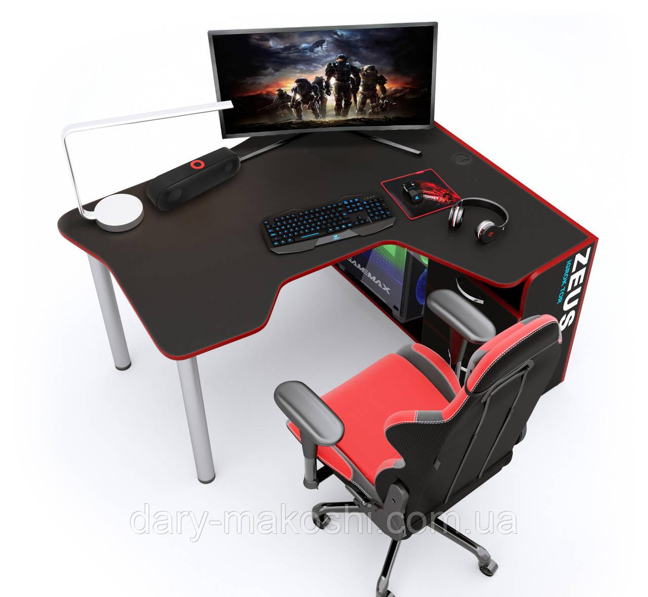Геймерский стол  ZEUS™ IGROK-TOR, черный/красный