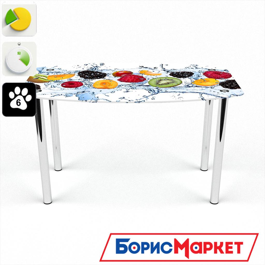 Обеденный стол стеклянный (фотопечать) Бочка Berry Mix  от БЦ-Стол 910х610 *Эко