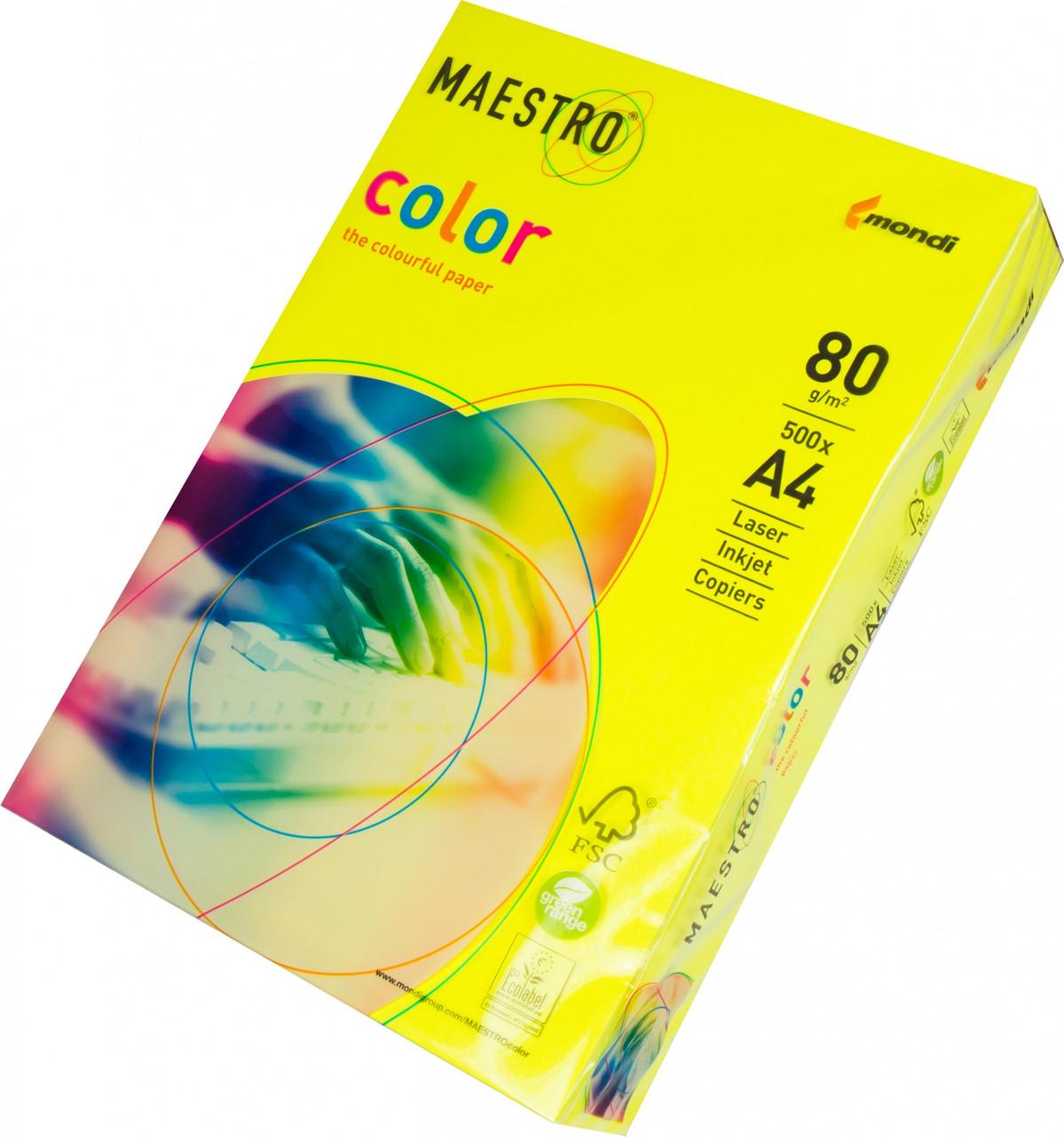 Бумага А4 Maestro Color Neon Neogb желтый