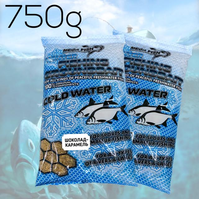 Зимние прикормки для рыбалки MEGA FISH. FISHING GROUNDBAIT WINTER 750гр. ШОКОЛАД-КАРАМЕЛЬ