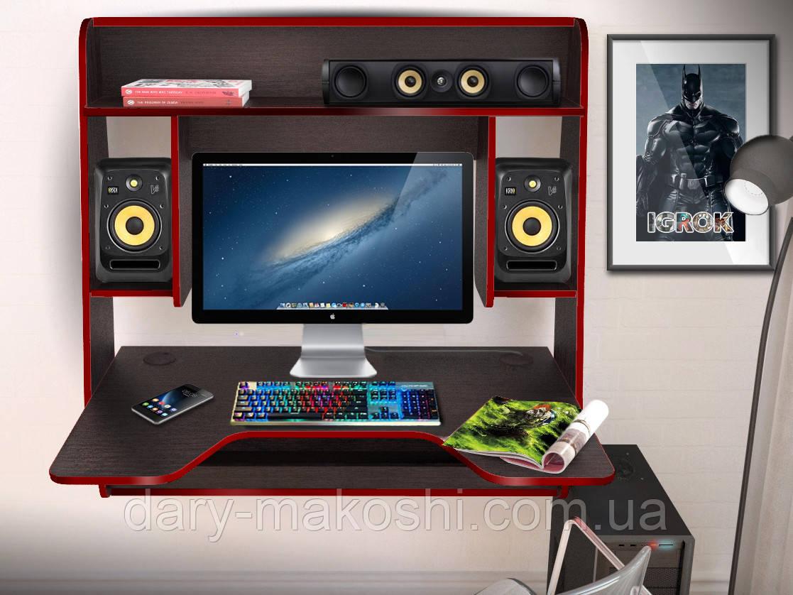 Геймерский навесной стол  ZEUS™ IGROK-MAX, венге/красный