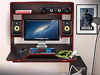 Геймерский навесной стол  ZEUS™ IGROK-MAX, венге/красный, фото 1