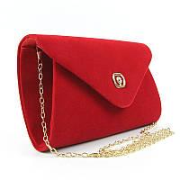 Красный велюровый клатч rh-102817-1 red конверт маленький вечерний выпускной, фото 1
