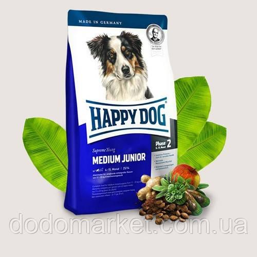 Сухой корм для молодых собак средних пород Happy Dog Supreme Medium Junior 4 кг