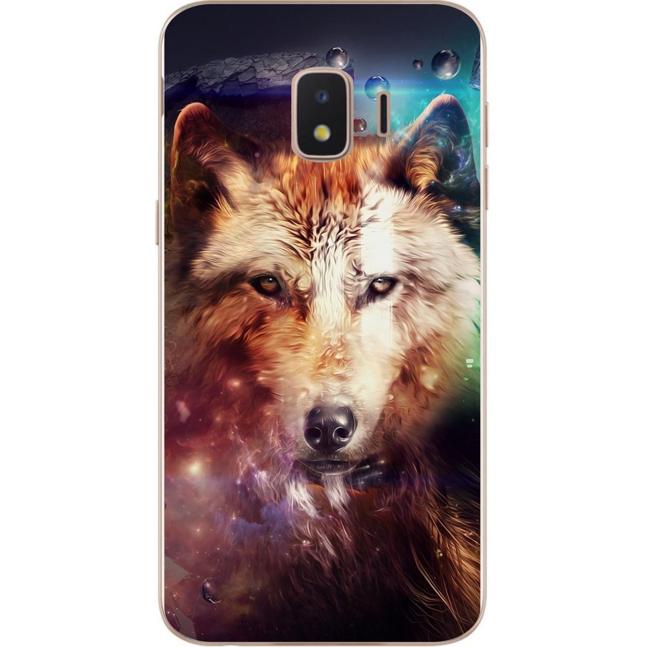 Чехол силиконовый для Samsung J2 Core J260 Galaxy 2018 с картинкой Космический волк