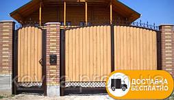 Распашные ворота с калиткой из металопрофиля, код: Р-0101