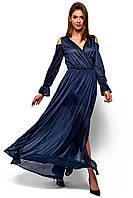 ddf050147ba Платье шифоновое Голди вечернее с длинным рукавом с люрексом 42-46 размер  синее
