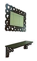 Зеркало декоративное прямоугольное с полочкой, шок.-коричневое