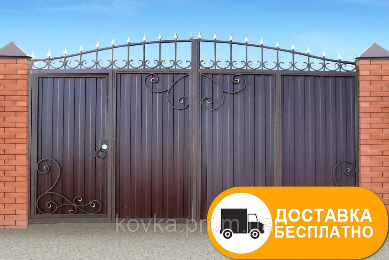 Ворота с встроенной калиткой из профнастилом, код: Р-0113