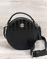 5b422724ff60 Стильная женская сумка Бриджит черного цвета со вставкой черный крокодил