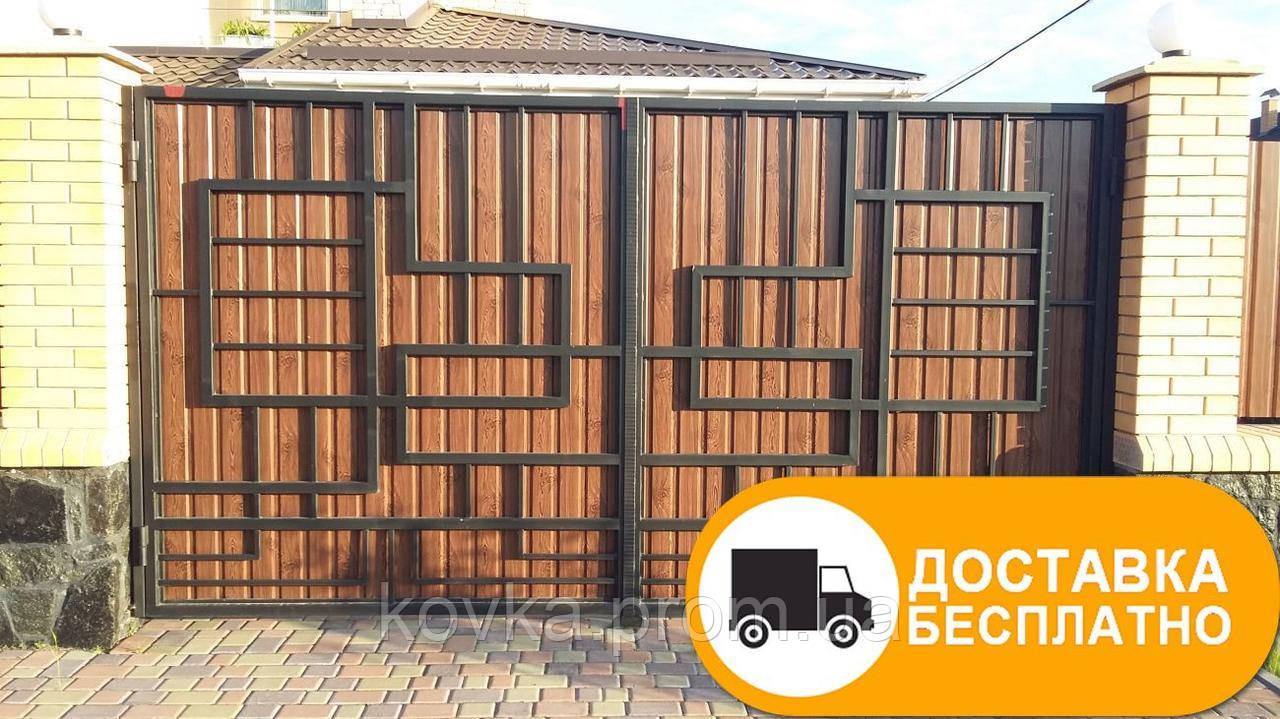 Ворота из профнастилом в стиле Лофт, код: Р-0122